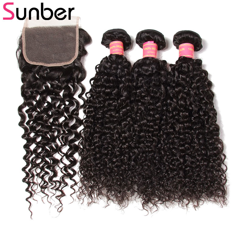 Sunber Malaysian Curly Hair With Closure 4*4 Natural Black Curly Human Hair Weave Bundles With Lace Closure Free Part 8-20Inch