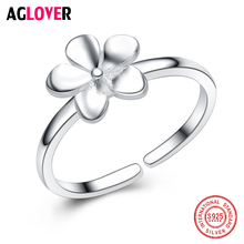 Five Petals Solid Flower High Quality 925 Sterling Silver Rings for Girls Special Design Wedding Pretty Accessories Jewelry