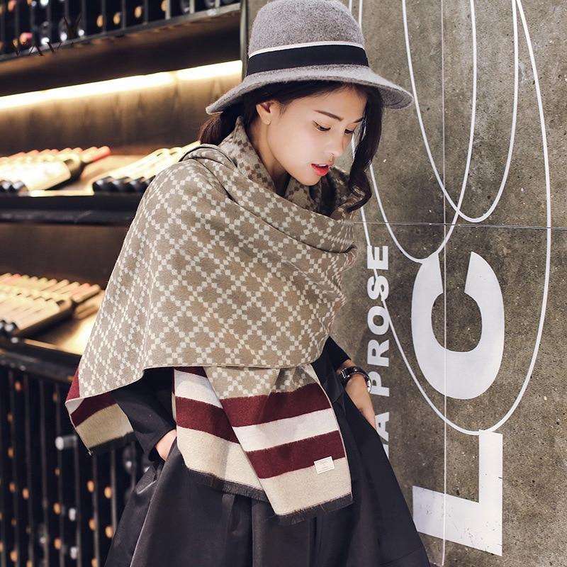 CW cashmere lattice striped print scarf shawl for women winter warm 195 * 65CM