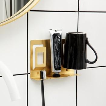 Nordic toothbrush gold Brass Modern Design Wall Mount golden Rack holder geometric bathroom Toothpaste Dispenser Bath set