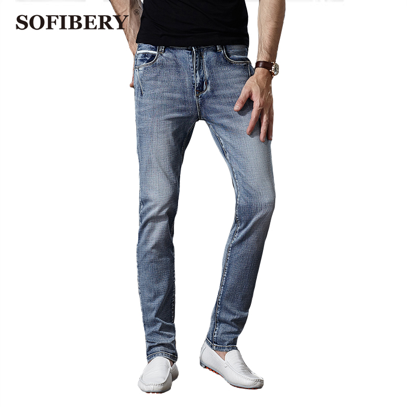 ФОТО SOFIBERY  Brand Men's Jeans European and American big yards smoke gray elastic Slim Straight jeans high quality  casual jeans