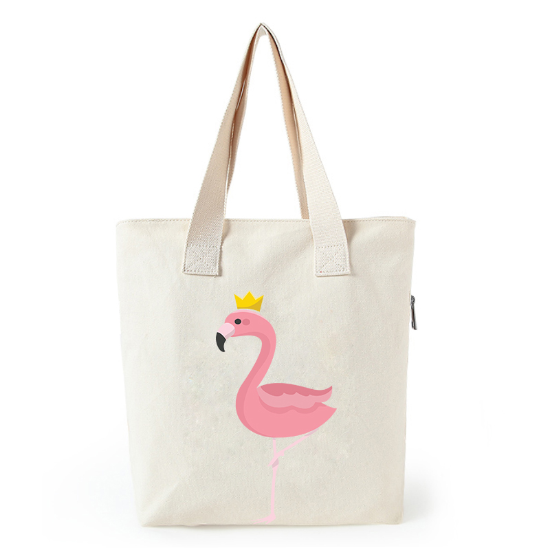 Flamingo print canvas tote bag customized eco bags custom made shopping bags with logo  Dachshund Shepherd Dog Poodle (10)