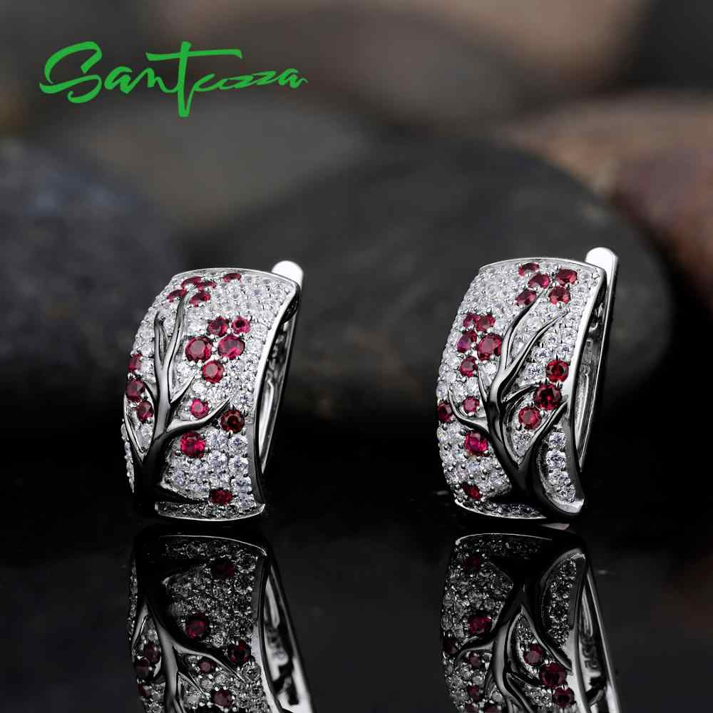 SANTUZZA เงินต่างหูผู้หญิง 925 เงินสเตอร์ลิงสีชมพู Cherry Sparkling Cubic Zirconia brincos อินเทรนด์แฟชั่นเครื่องประดับ