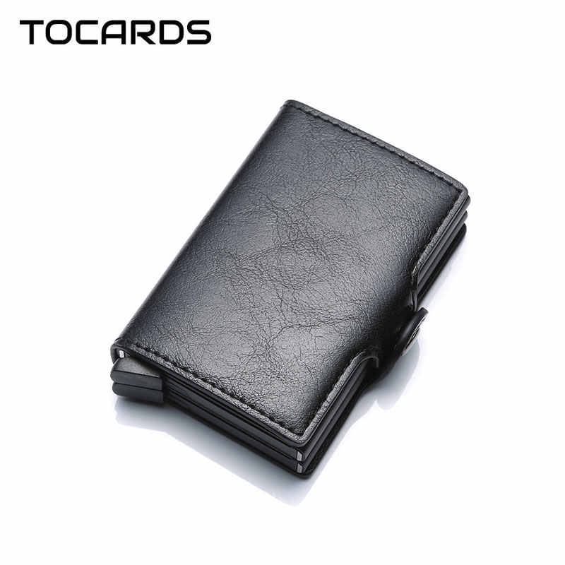 2019 Twin Metal Card Holder RFID Blocking Leather Business ID Credit Cardholder Men Thin Double Aluminium Case Wallet Mini Purse
