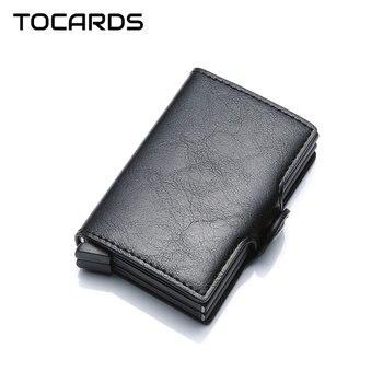 2019 ツイン金属カードホルダー Rfid ブロッキング革ビジネス ID クレジットカード所有者の男性薄型ダブルアルミケース財布ミニ財布