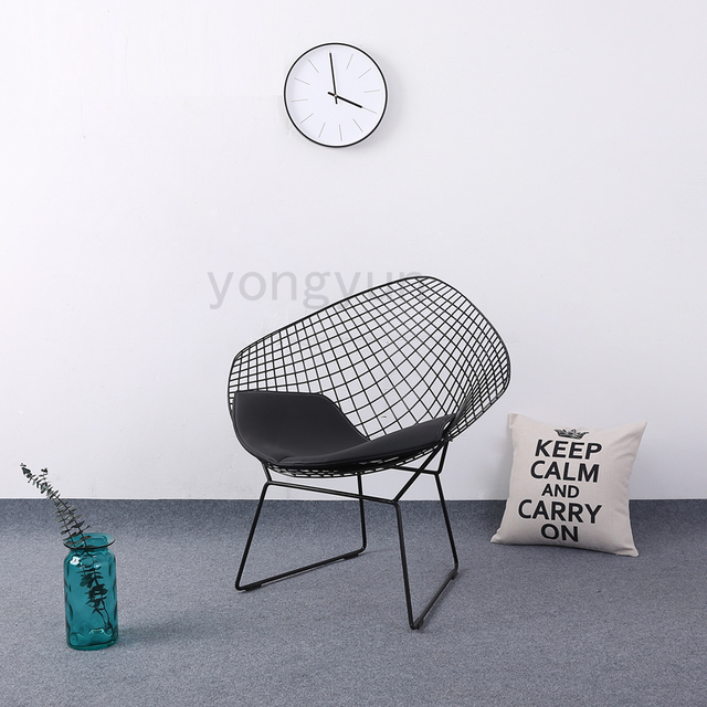 Leisure Chair Diamond Steel Wire Chair Minimalist Modern Wire Chair Diamond  Chair Cushion Powdercoat Black