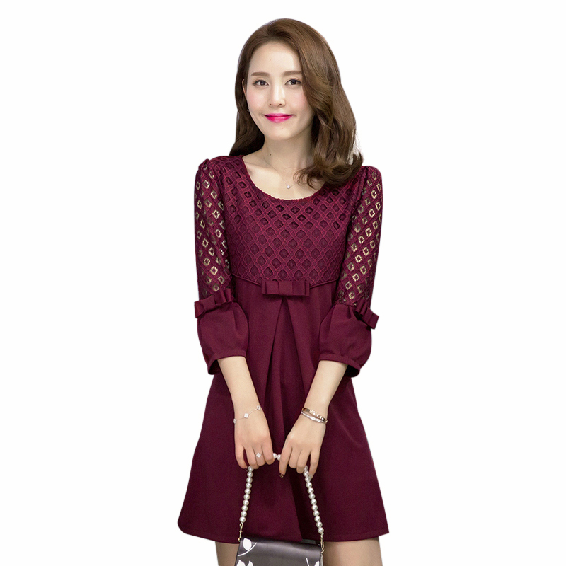 Maternity Breast Feeding office Dresses pregnant woman Red ...