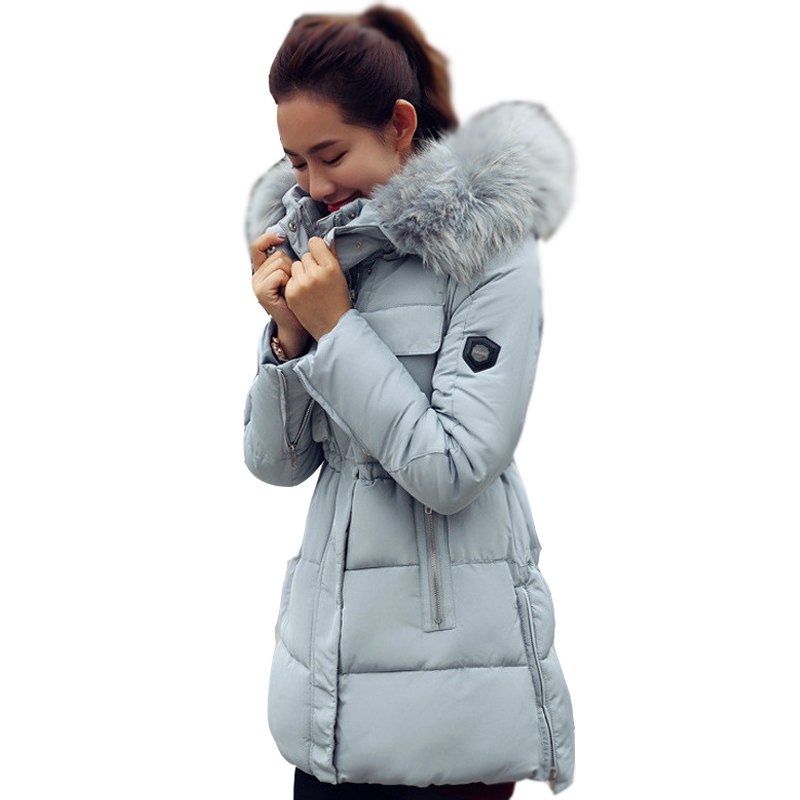 2016 winter women s New down jacket long sections Slim thin cotton hooded thick coat collar