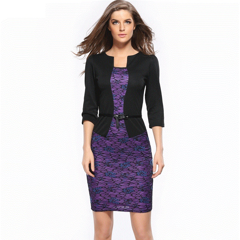 Hooyi TOP1 Official Store Women office Dress 2017 plus size clothing Work Pencil Business Dresses CG709