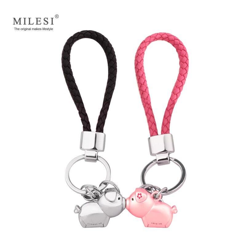 Milesi 3D baiser porc couple porte-clés pour les Amoureux Bijou Cadeau belle porte-clés femmes présent Chaveiro sleutelhanger porte-clés de voiture