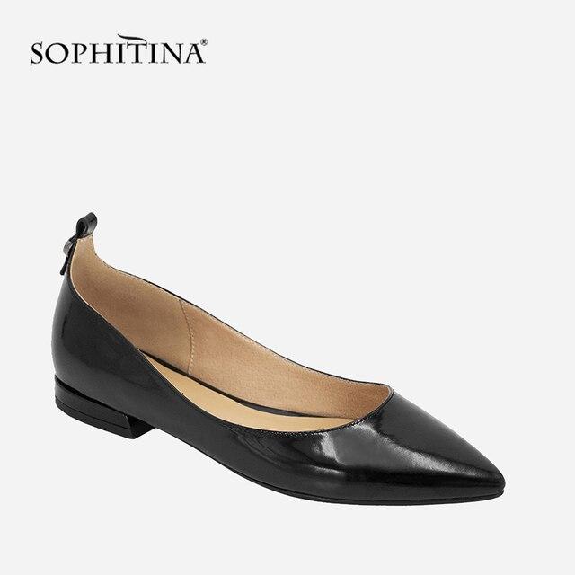 SOPHITINA Elegant Women Flats Handmade Pointed Toe Slip On Career Flats 2018 Autumn Black Patent Leather Shallow Lady Shoes P14