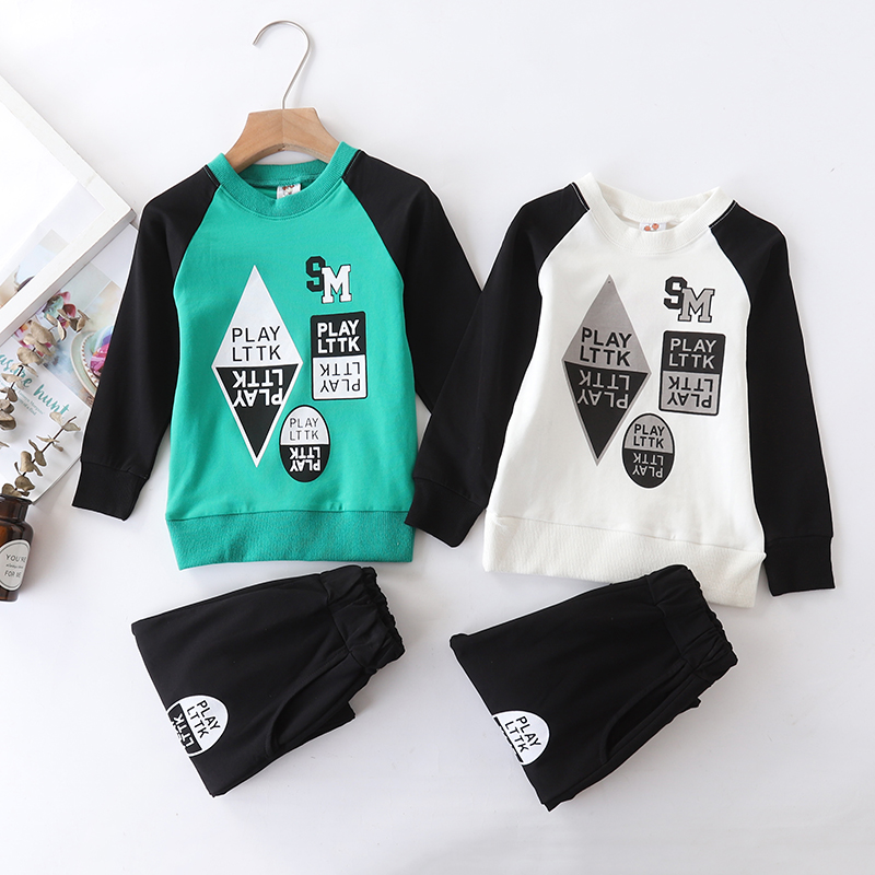 Manufacturers direct sales 2018 spring and autumn new children printed round-neck long-sleeve sets cotton boys two-piece sets