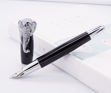 Fuliwen Fountain Pen Elephant Head on Cap, Delicate Black Signature Pen, Medium Nib Business Office Home School Supplies