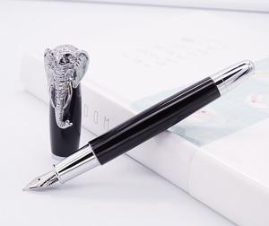 Image 1 - Fuliwen pluma estilográfica cabeza de elefante en tapa, pluma de firma negra delicada, oficina de negocios de plumín medio, hogar, suministros de colegio