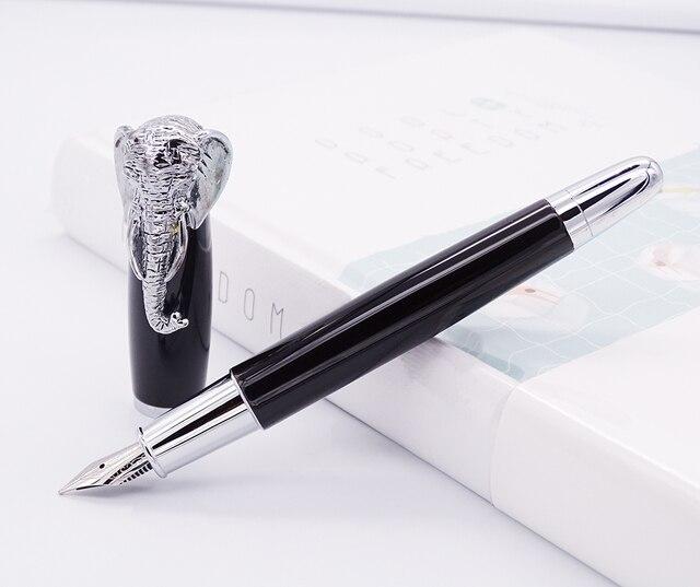 Fuliwen pluma estilográfica cabeza de elefante en tapa, pluma de firma negra delicada, oficina de negocios de plumín medio, hogar, suministros de colegio