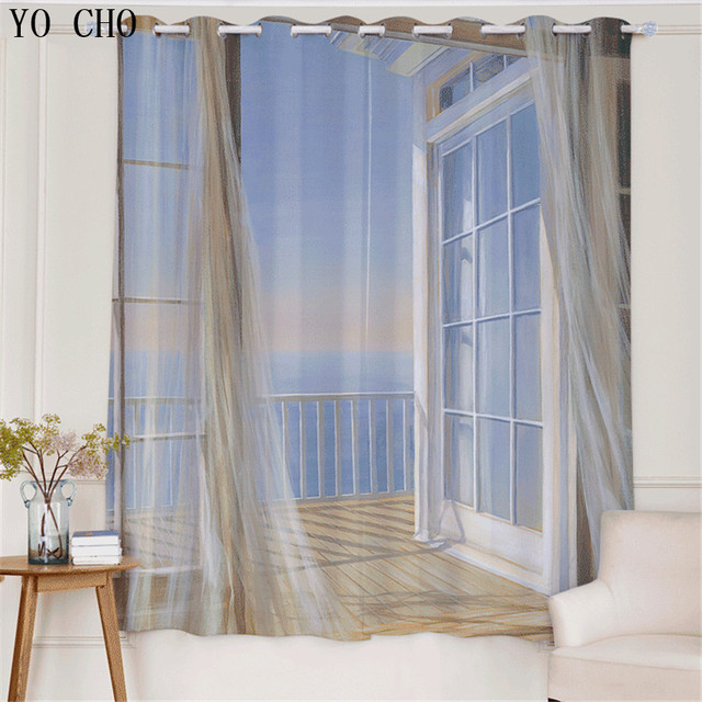 Yo Cho New Modern Beach Scenic Seaside Sheer Curtains For Bedroom Blackout