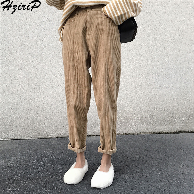 HziriP 2019 New Stylish Loose Comfortable Casual Fashion Simple Women Female Pants Autumn Solid Ladies 3 Colors Preppy Style