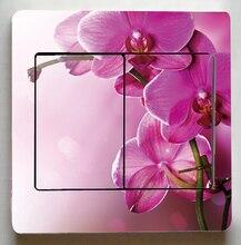 Очень Красивые цветы Переключатель Наклейки, Роза Орхидея цветы Переключатель Наклейки, Для гостиной Мода Декор Свет Переключатель наклейки