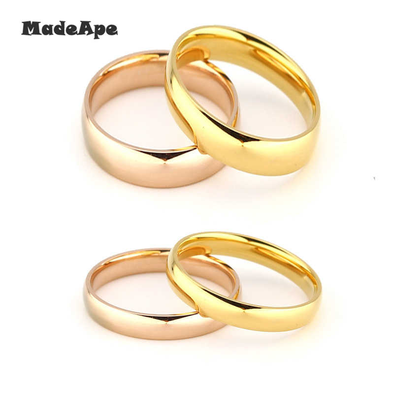 MadApe Classic Women Wedding Ring Titanium Stainless Steel Ring Fashion Simple Women Men Engagement Ring Jewelry Wholesale