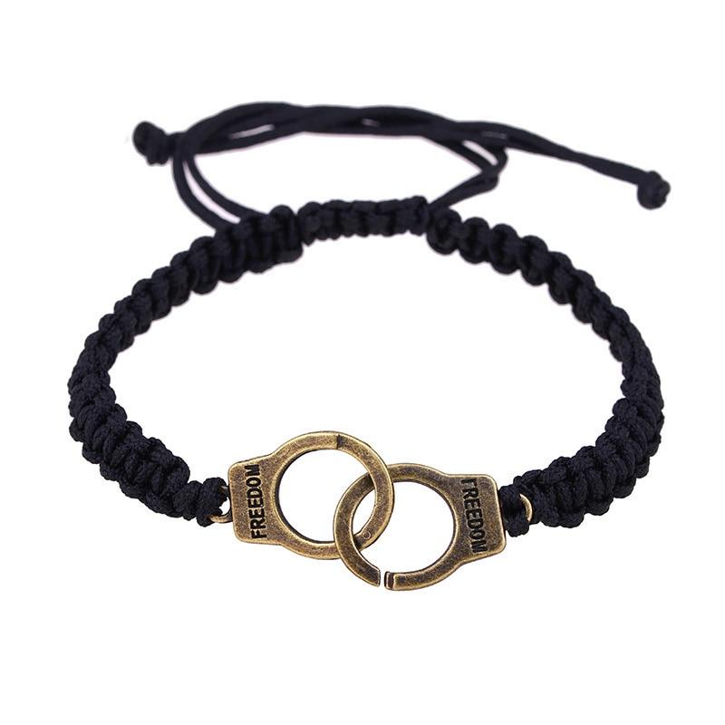 Trendy Handcuffs Bracelet Lovers Lettering FREEDON Couple Gold Bracelets For Women Handmade Black Braided Bracelets Jewelry