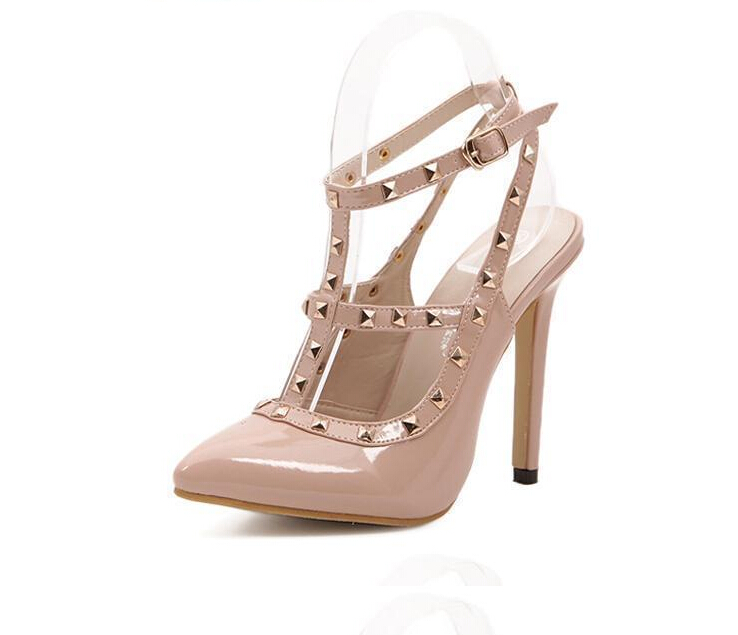 2017 hot women metal strappy pumps sandals high heels wedding shoes stiletto ladies pointy toe high heeled ankle strap shoes Hot Women Pumps Ladies Sexy Pointed Toe High Heels Fashion Buckle Studded Stiletto High Heel Sandals Shoes  BAOK-3be9