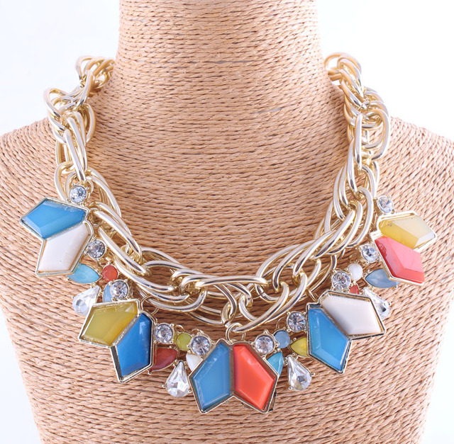 New 2014 fashion necklace double chain necklace Za colorful crystal necklaces & pendants chokers statement necklace Jewelry