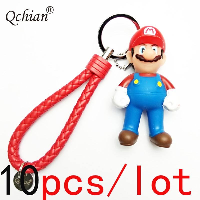 10pcs/lot Super Mario Leather Rope Car Key Backpack Decorative Pendant Keychain Beautiful Gift for Children