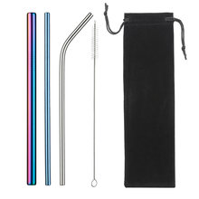 Metal Reusable Straw Eco-Friendly 304 Stainless Steel Straw Smoothies Drinking Straws Set with Brush & Bag Wholesale Hot Sale(China)