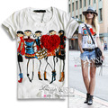 2016 Newest blusas femininas 3D Applique Illustrator Print Short-sleeve Elastic Women T-shirt tops for women