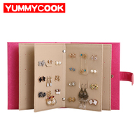 PU Leather Portable Fashion Women Jewelry Book Storage Bag Stud Earrings Collection Necklace Display Box Organizer