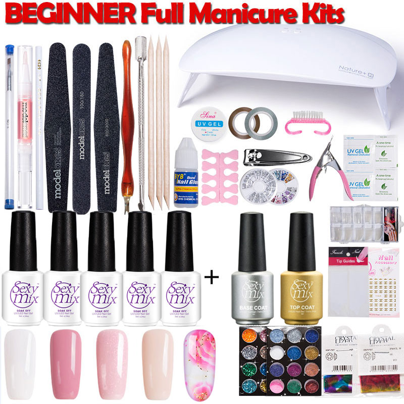 SexyMix Nail Art UV Gel Nail Polish Kits Tools Lamp Sets 24W UV LED Nail Dryer UV Nail Gel Polish Soak Off Manicure Full Sets