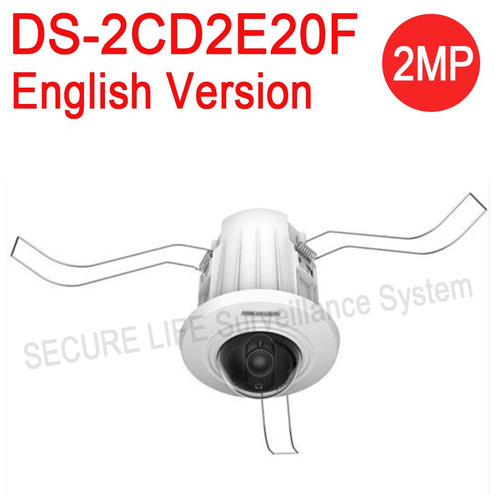 Free shipping English version DS-2CD2E20F 2MP Recessed Mount Dome IP CCTV CAMERA, mini dome security camera dhl free shipping english version ds 2de4220iw d 2mp ip camera mini ptz camera security camera instead of ds 2de4582 a