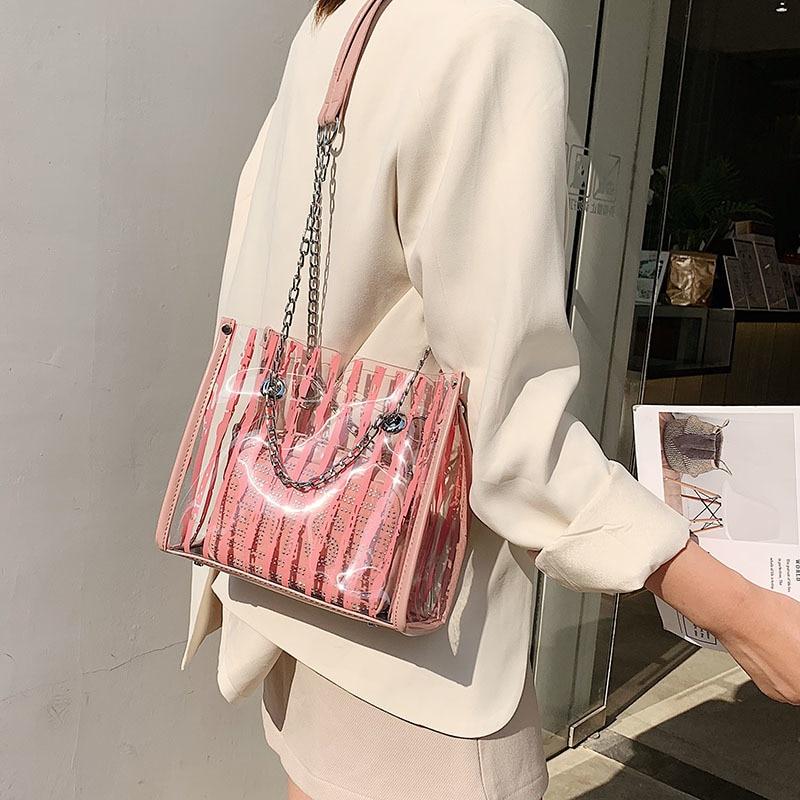 Clear Bag For Women PVC Beach Woman Bag Transparent Handbag Luxury Big Lady Summer Fashion Transparent Bags For Women Crossbody in Shoulder Bags from Luggage Bags