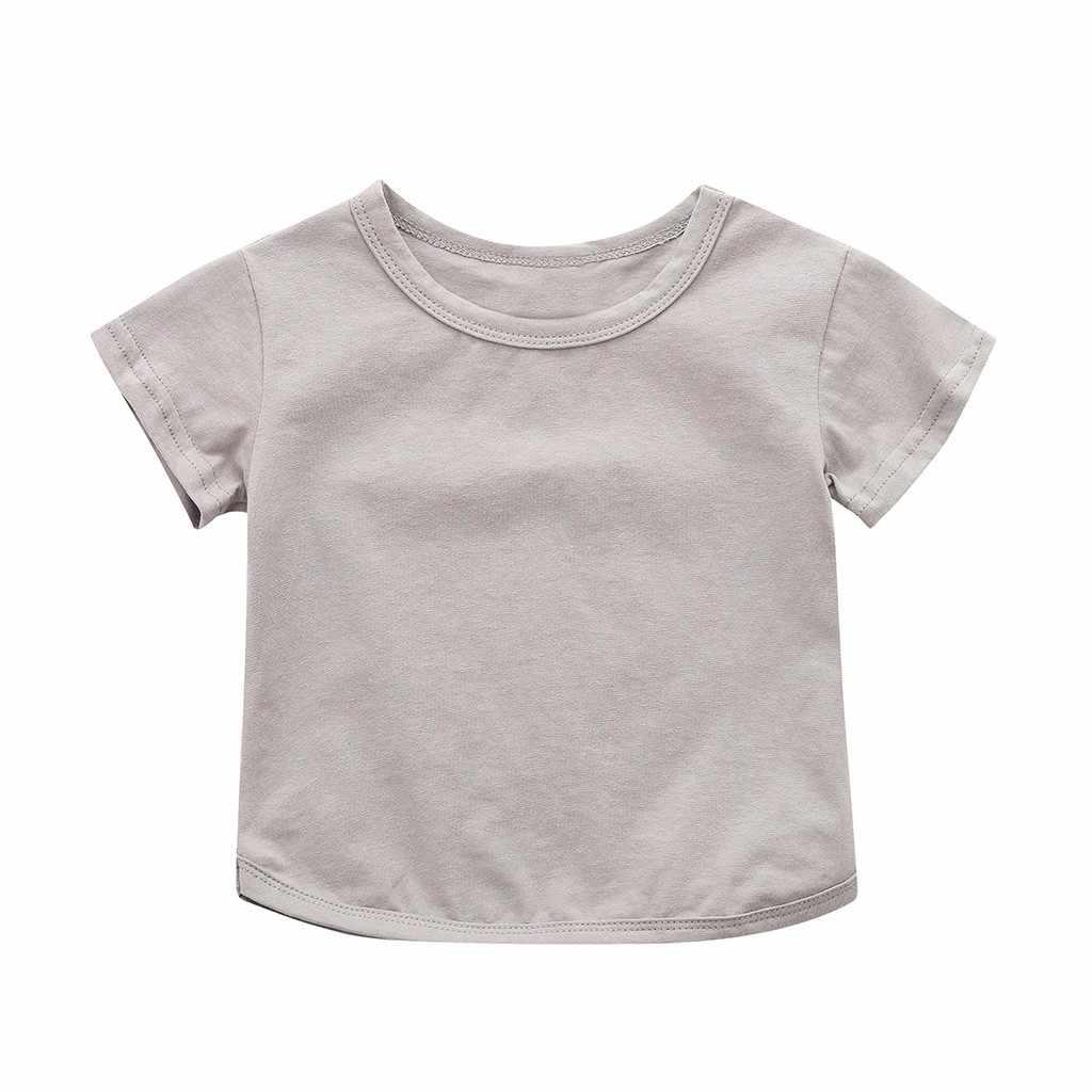 を幼児ベビーボーイズガールズヘビー綿 Tシャツ幼児半袖無地白グレー Tシャツ子供の夏の Tシャツ W516