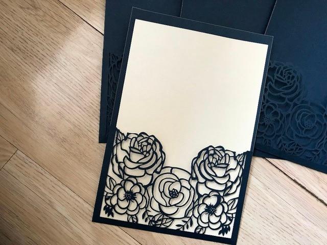 50pcs Dark Navy Blue Laser Cut Wedding Invitation Personalized Rose