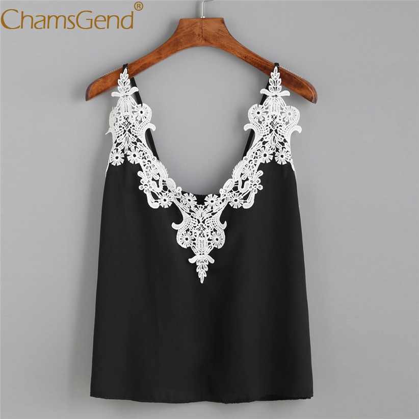 Chamsgend Tops Women Tees HOT Fashion Summer V Neck Lace Loose Crop Top Female Cropped Black Camisole 80108
