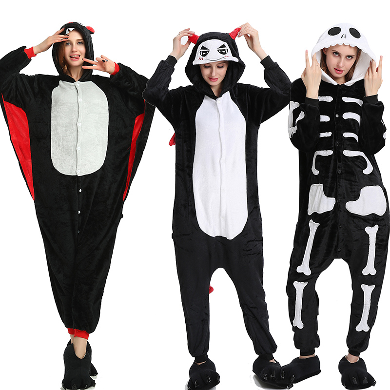 Halloween Pajama Sets Kigurumi Onesis Cartoon Sleepwear Cosplay Zipper 2019 Women Pajama Flannel Animal Skeleton Bat Pyjamas