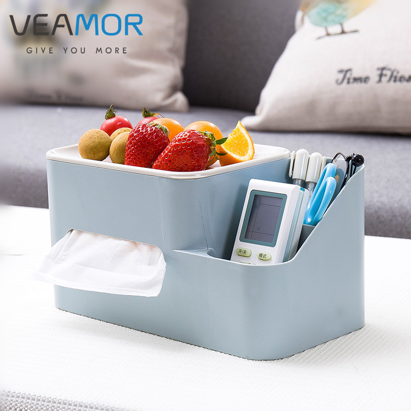 VEAMOR Multi-purpose Desktop Tissue Box Mobile Phone Snack Box Simple Living Room Household Office Napkin Storage Boxes WB1571