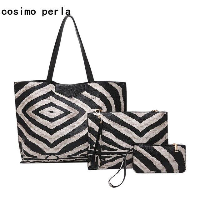 95cc13dba687 Fashion Zebra Pattern Women Leather Handbags 3 pcs Set Animal Prints Large  Shoulder Bags Ladies Purse Causal Totes bolsos mujer
