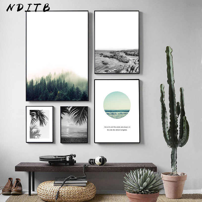Scandinavian Canvas Poster Forest Beach Landscape Print Nordic Style Wall Art Painting Decorative Picture Living Room Decoration