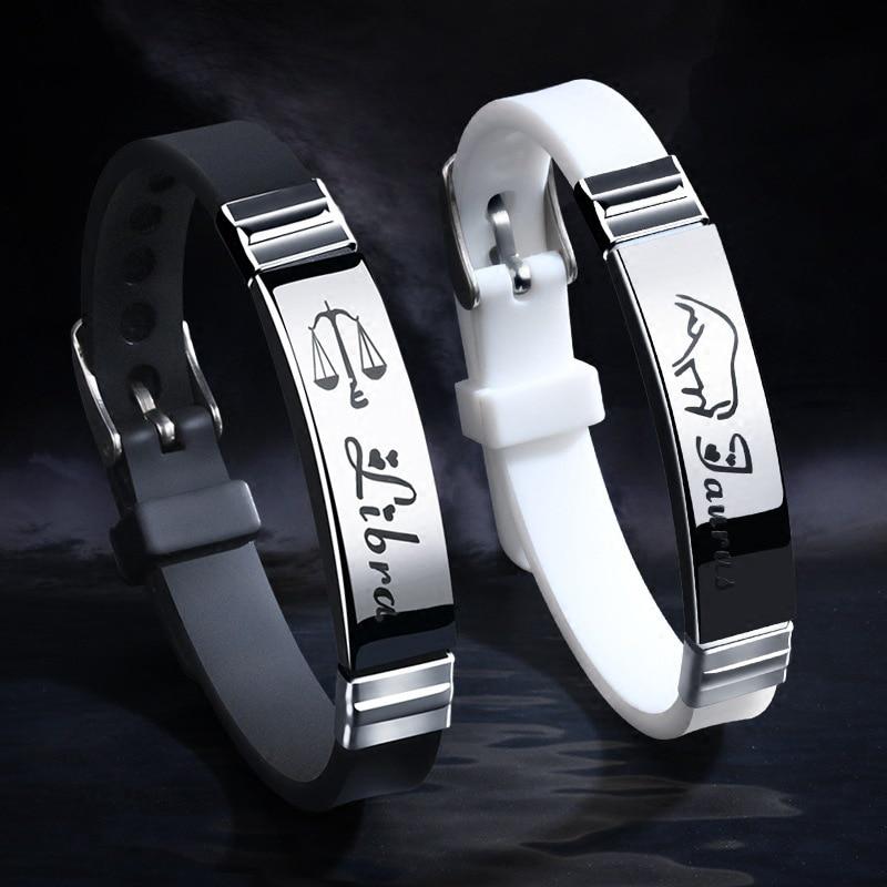 Nouveau Bracelet en Silicone pour hommes femmes fermoirs en acier inoxydable 12 Bracelet signe du zodiaque hommes femmes Couple Bracelets bijoux Pulseras