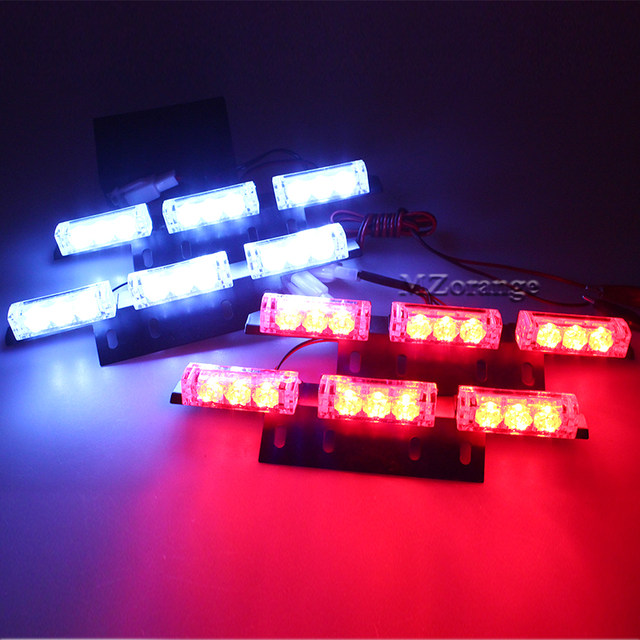 2 X 9 4 X 9 6X 9 LED Emergency Car Strobe Lights Yellow Automotive  Explosive Car Front Grille Deck Strobe Flashing Light