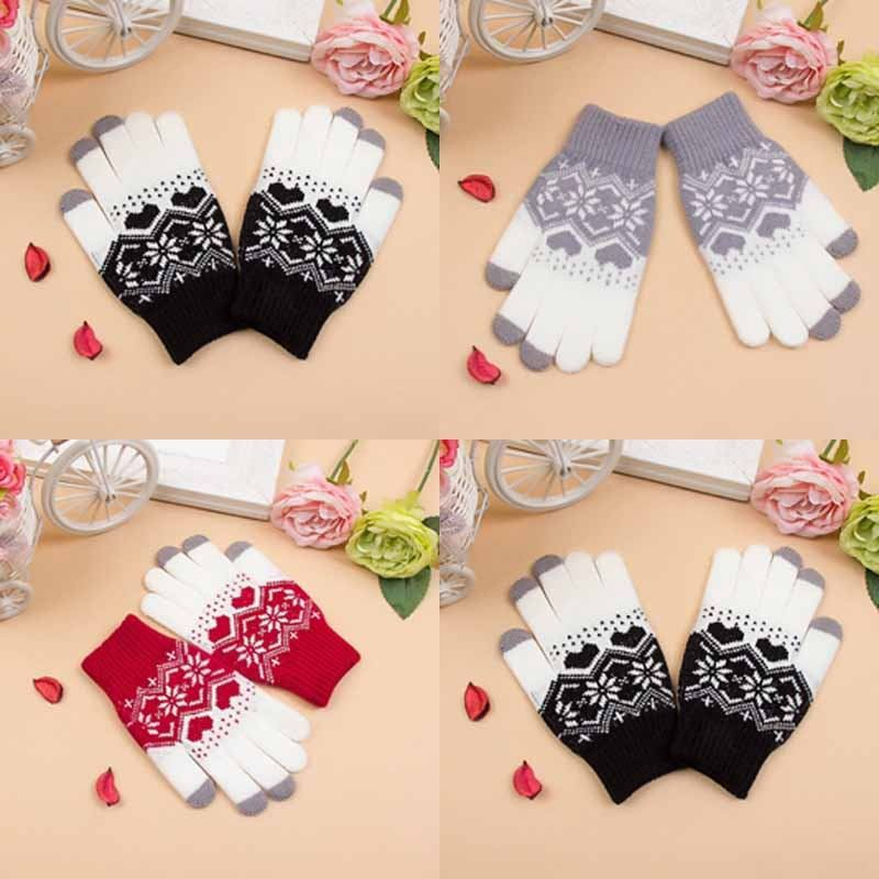 New Christmas Winter Warm Gloves Men Women Snowflake Printed Knitted Touch Gloves Women Gloves Touch Screen Glove