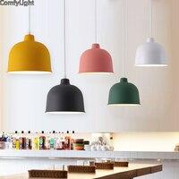 Nordic Красочные подвесной светильник led Дании дома фойе современный подвесной светильник Металл абажур Спальня/Кухня остров подвесной свети