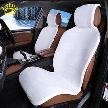Autositzbezüge set Weiß faux pelz nette covers für auto innen zubehör kissen styling winter neue plüsch auto pad sitz i25