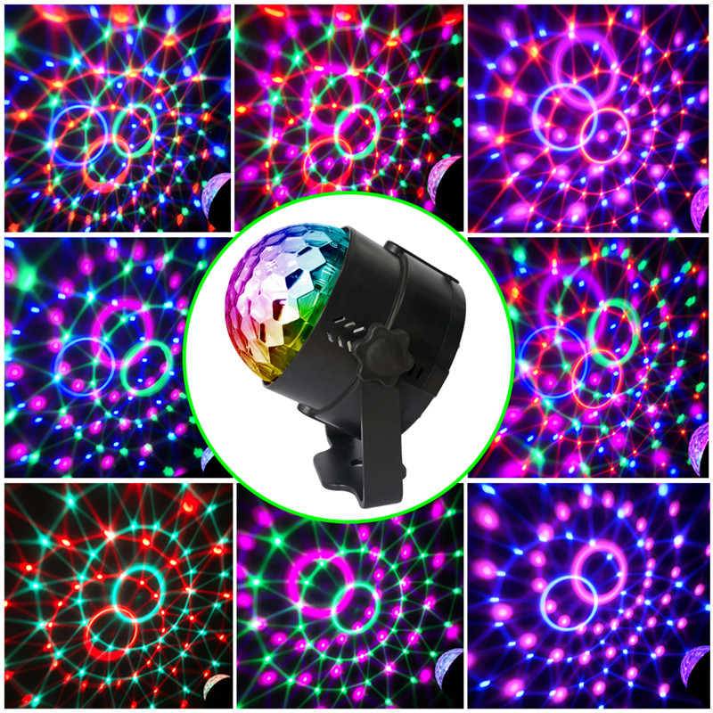 15 Colors DJ Disco Ball Light 5W Sound Activated Laser Projector RGBP Stage Lighting Effect Lamp Christmas Light Music KTV Party