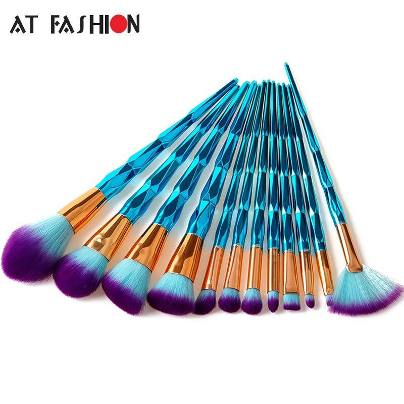 AT FASHION New 7/10/12pcs Unicorn Diamond Makeup Brush Set Facial Foundation Powder Cosmetics Brushes Eyeshadow Brush Kit