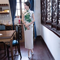 Shanghai Story China Long White Qipao Dress chinese style cheongsam dress Chinese Oriental dress Woman's Chi Pao