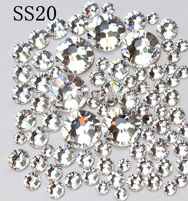 Super Shiny 1440PC/Pack SS20 4.6-4.8mm Crystal/Clear Glitter Stone Non Hotfix For Nail Art Decorations Flatback Rhinestones 20ss super deal shiny 1440pcs ss3 to ss10 non hotfix glass rhinestones clear crystal for 3d nail art decoration flatback strass stone