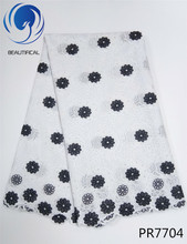 BEAUTIFICAL White African swiss voile lace fabric 2017 New arriver black embroidery cotton for clothes PR77